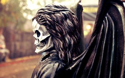 A menacing effigy hangs in the spooky streets of Salem