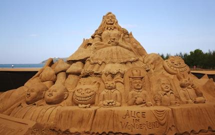 A sculpture from a previous Sand Festival on Miramar Beach