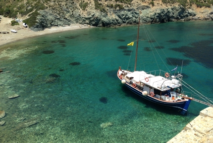 A tiny stone pier sticks out into Kyra Panagia's secluded bay