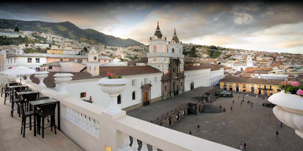 A panoramic view from Casa Gangotena's rooftop terrace