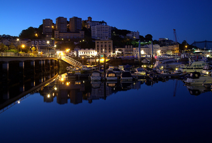 Daybreaks over the picturesque Torquay harbour