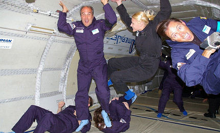 Experiencing weightlessness on board a zero gravity flight