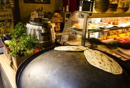 Lebanese flat bread on the hot saj.