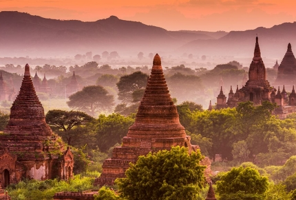 Magnificent stupas in Bagan, Myanmar.