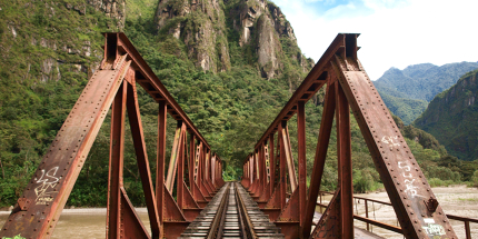 Part of the Salkantay trek crosses an old British railway line