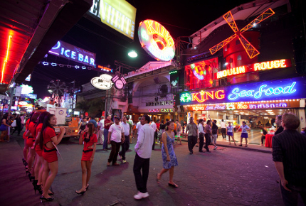 Phuket Walking Street dazzles with its neon lights