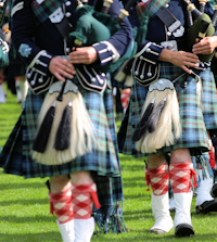Scottish pipers in kilts