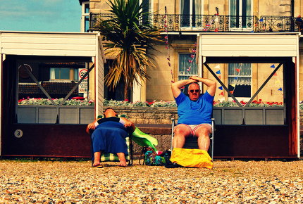 Relaxing in a very British way on Weymouth beach