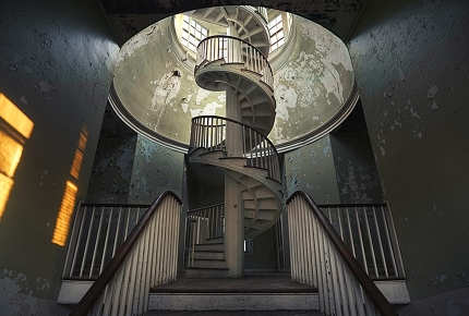 The central stairs at the Trans-Allegheny Lunatic Asylum