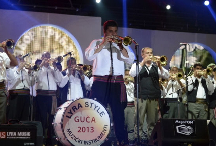 Trumpeters from all over Serbia perform during the festival