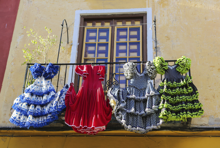 Try your footing this April in Seville with flamenco dancing.
