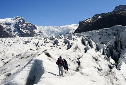 Two people tackle Skaftafell Glacier
