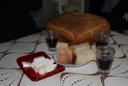 Vanya provides homemade bread, cheese and wine