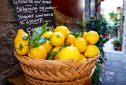 Zesty lemons are abundant in Sicily.