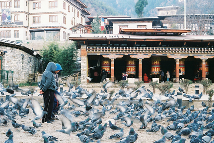 A market square in the city of Thimphu, Bhutan