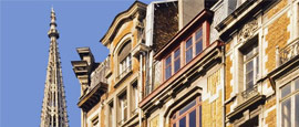 Flemish houses and St Stevens Church in Lille's Old Town