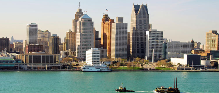 Boats and cityscape, Detroit