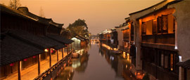 Old houses in Hangzhou at night