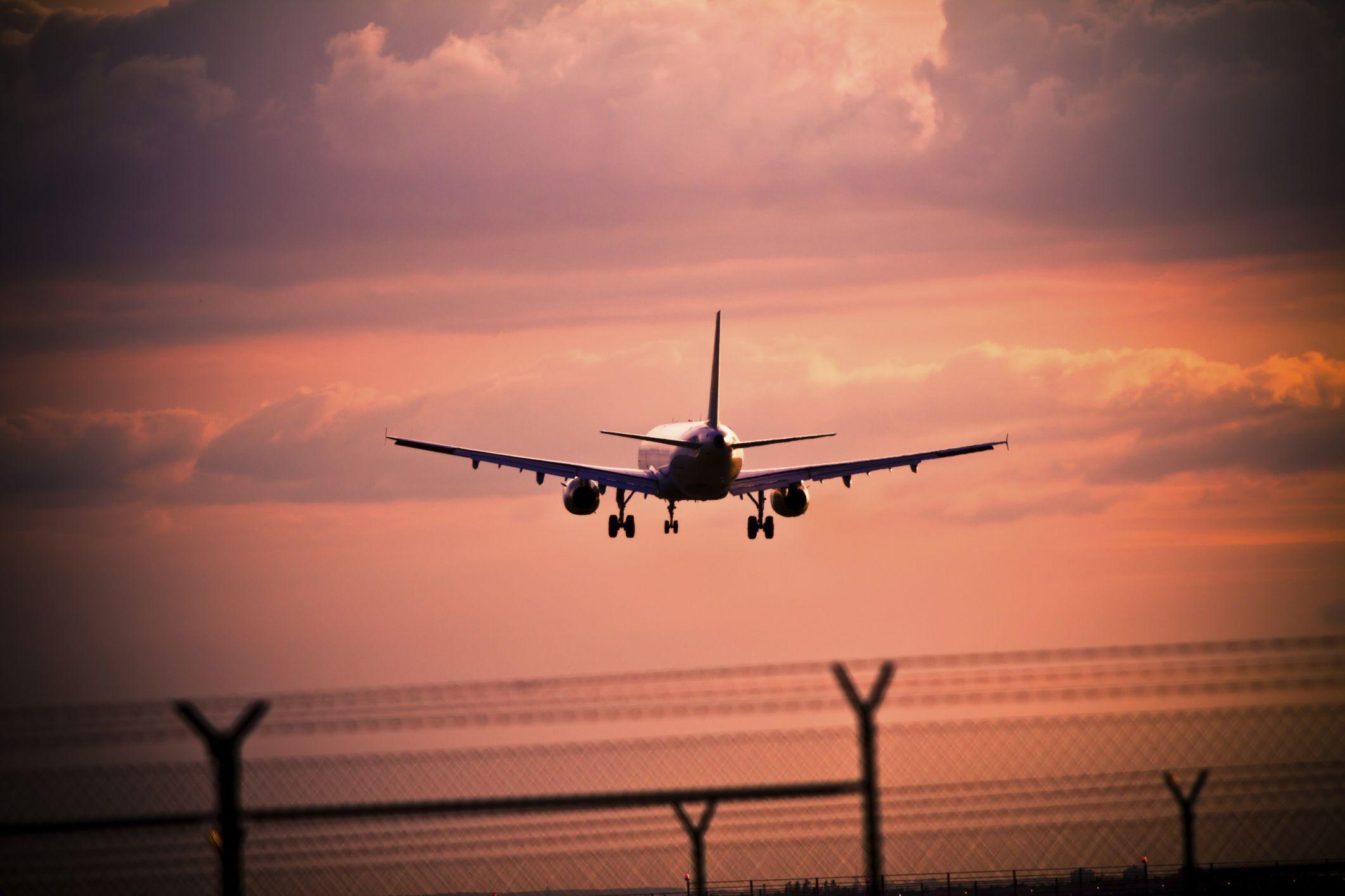A plane lands at Nuremberg Airport