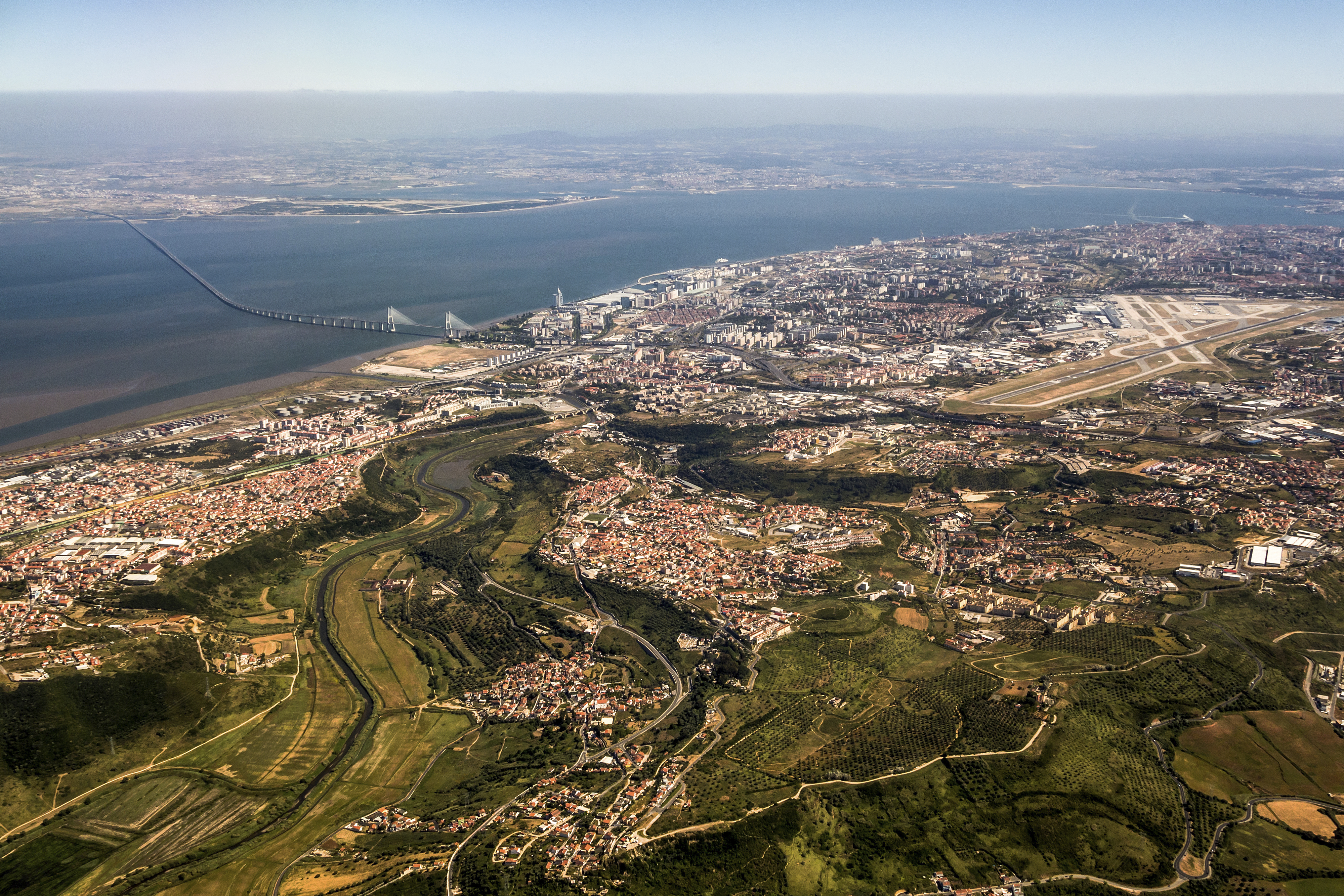 Lisbon Portela Airport viewed from the sky