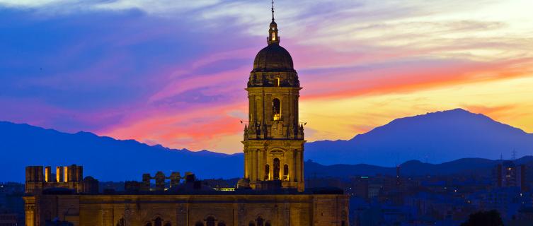 Málaga Cathedral at dusk