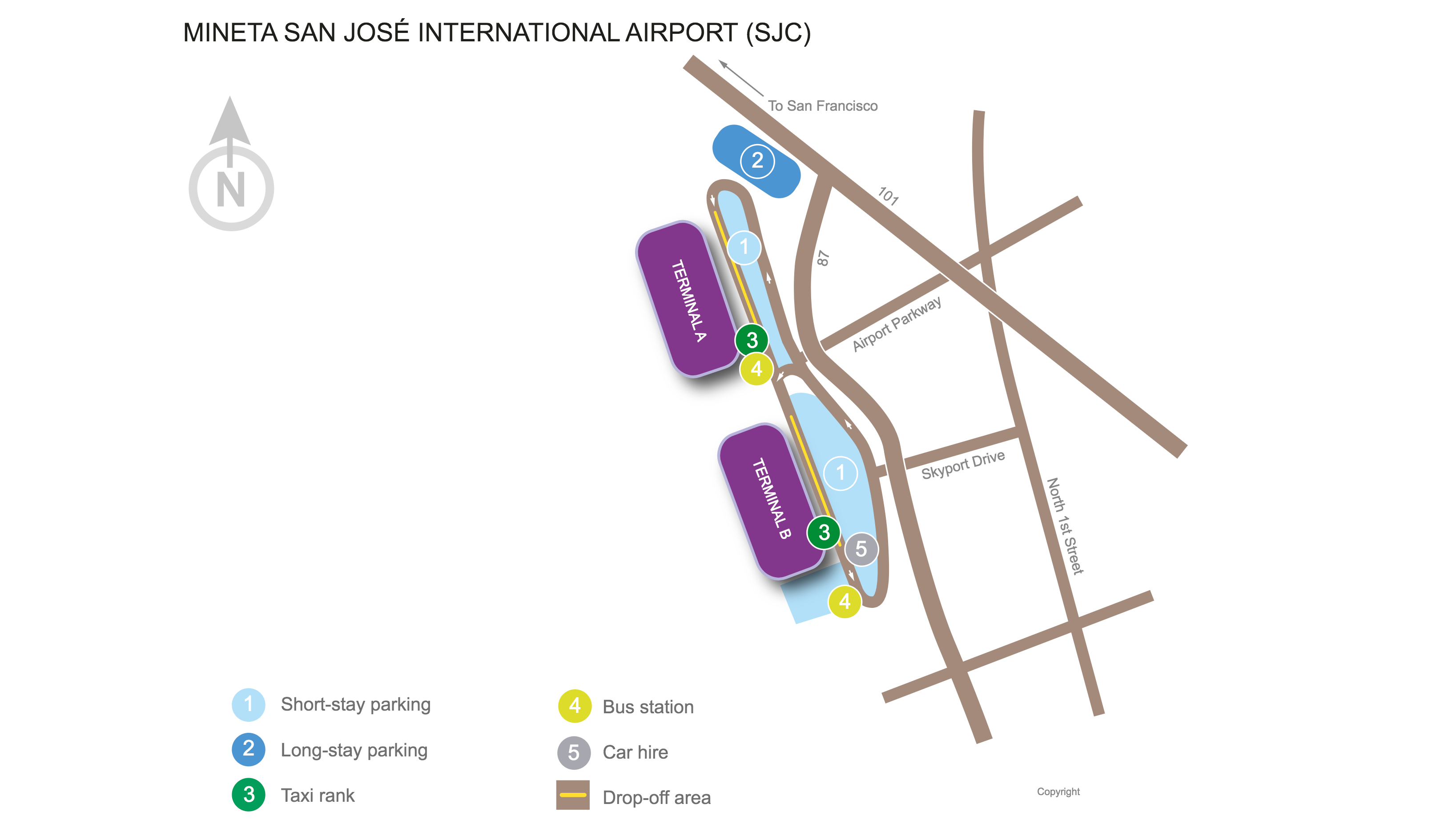 Mineta San José International Airport (SJC) map