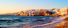 Sunset on the shore of Mykonos, Greece