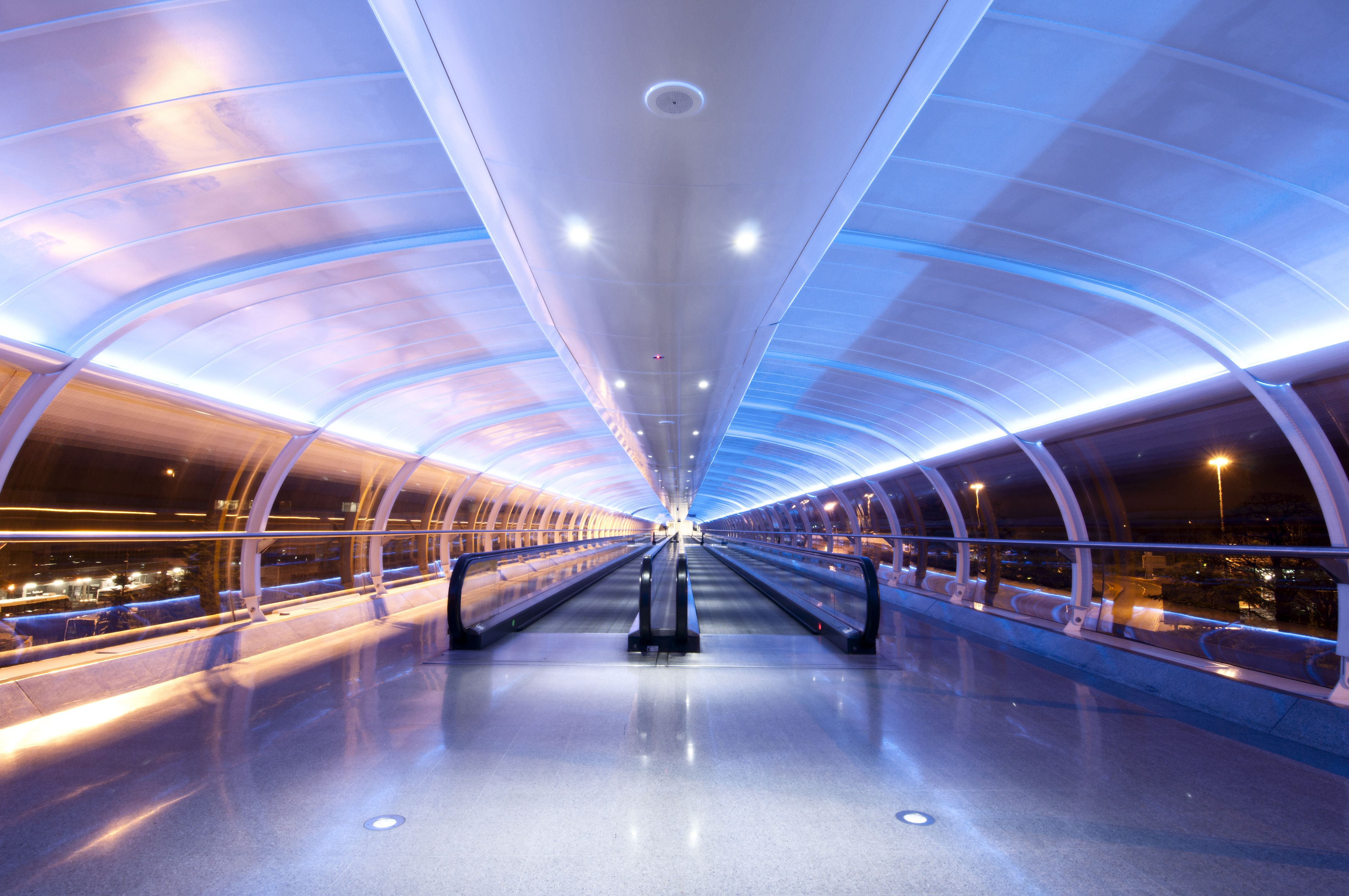 Neon lights guide the way Manchester Airport