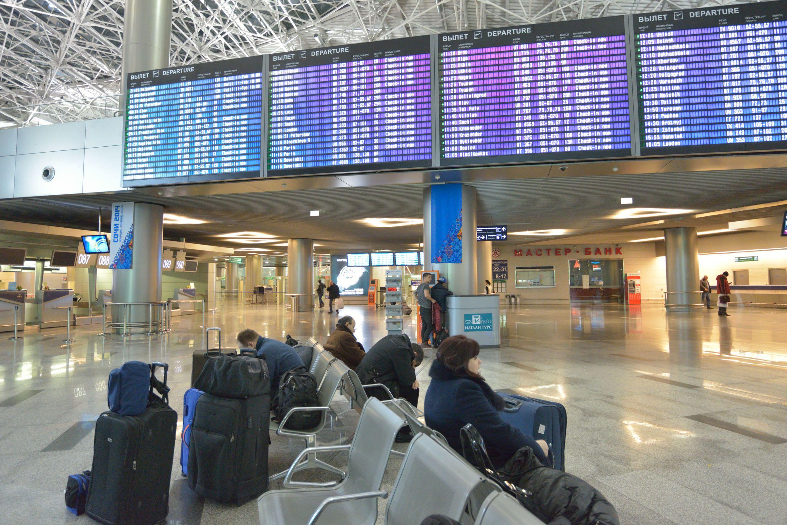 Passengers waiting at Moscow Vnukovo International