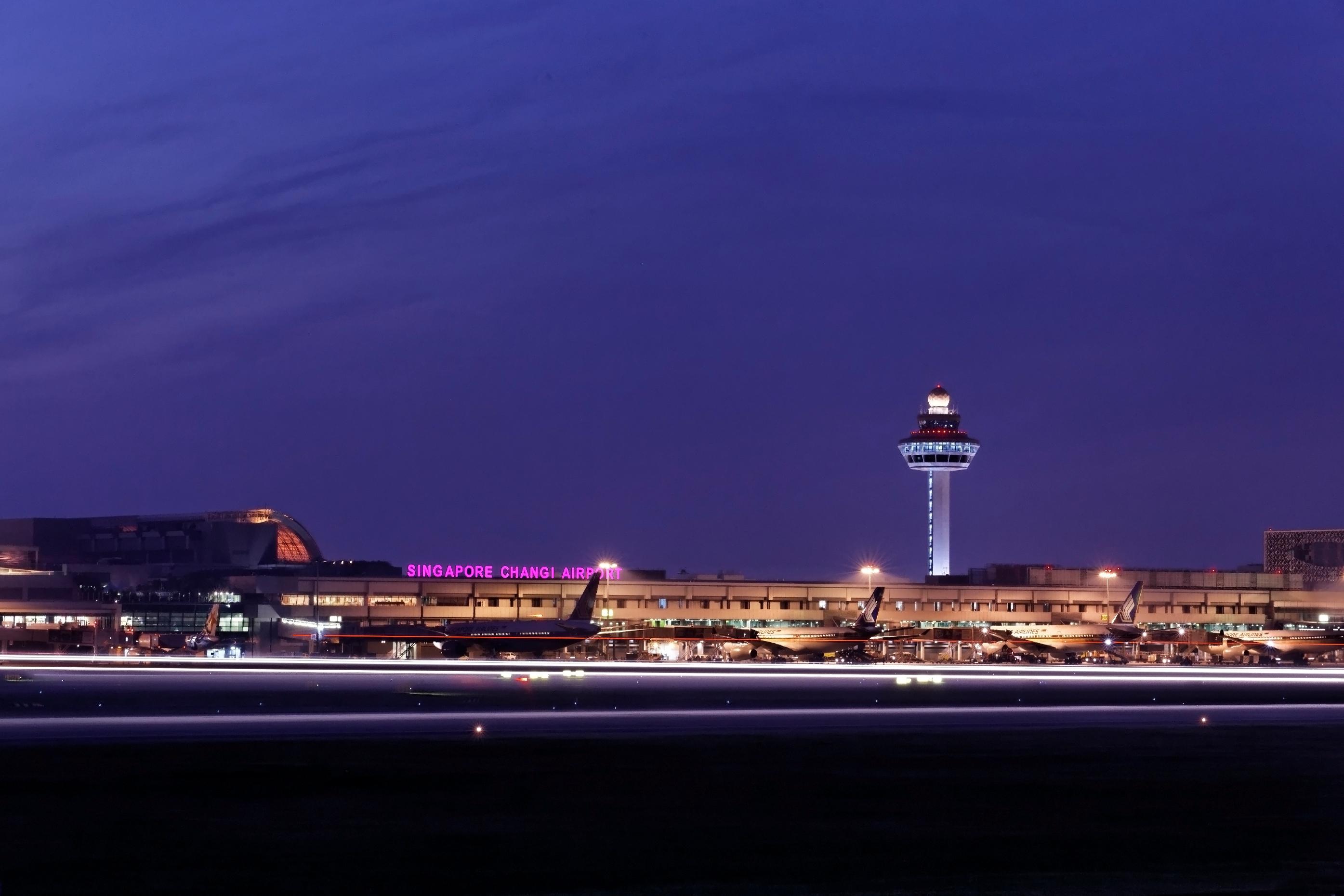 Singapore Changi Airport at night