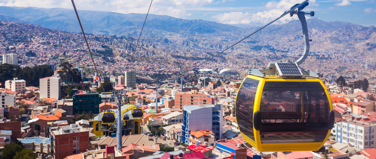 The cable car that links neighbouring cities La Paz and El Alto
