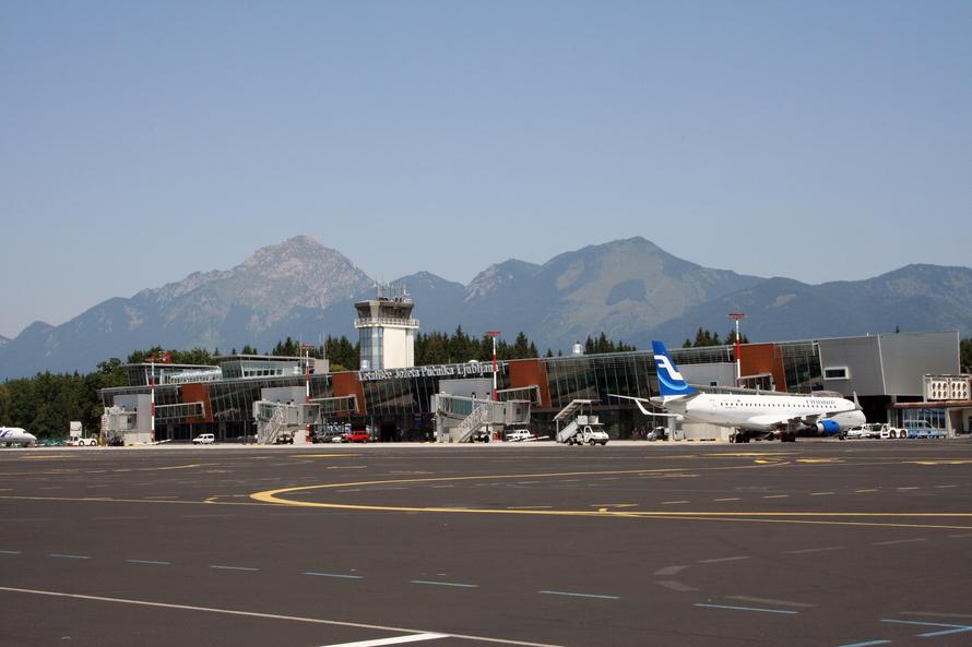 Ljubljana Airport's mountainous backdrop