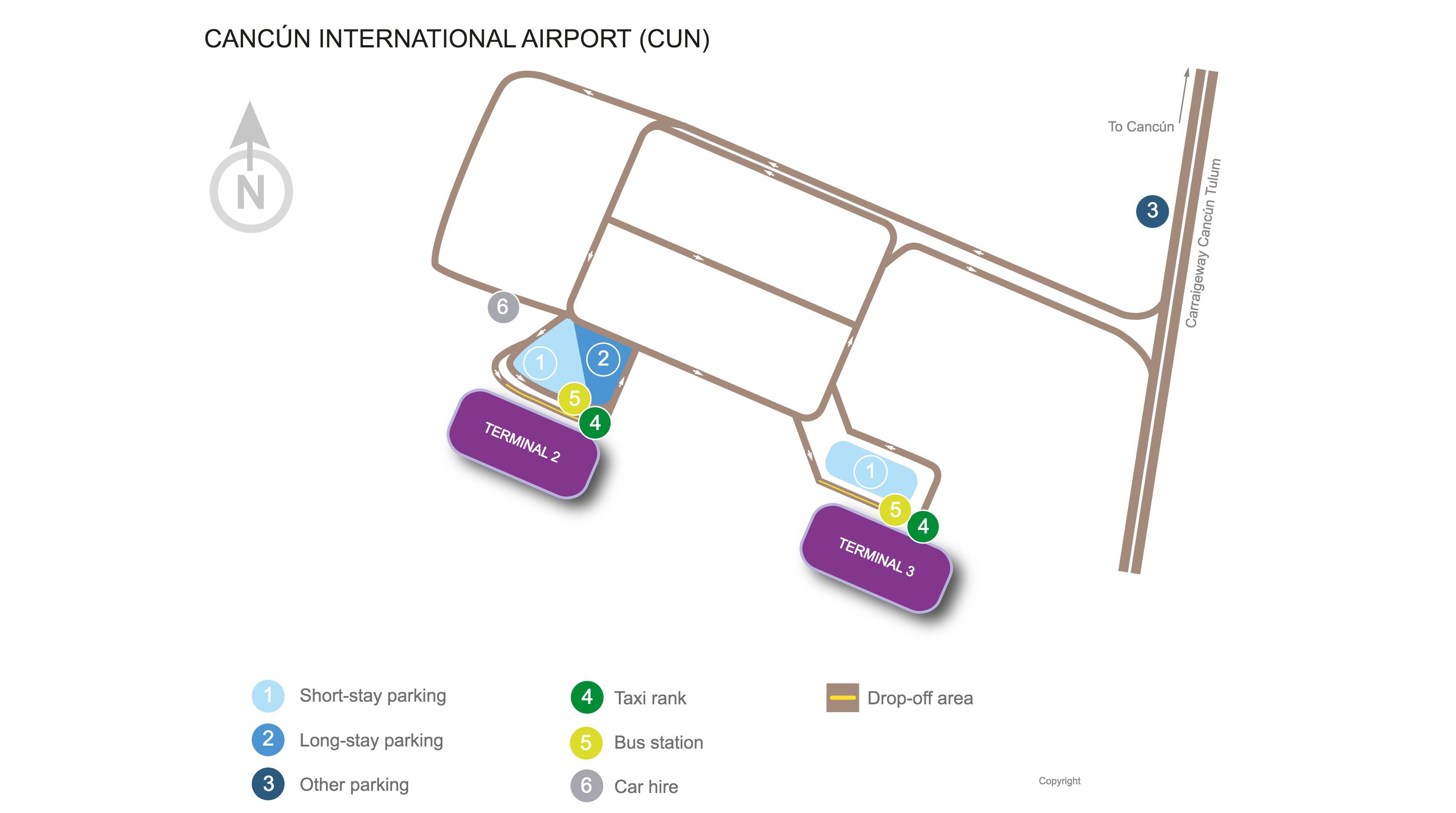 Cancún International Airport map