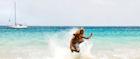 A skimboarder in Cape Verde
