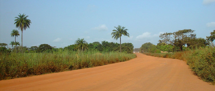 A dirt road in Gambia