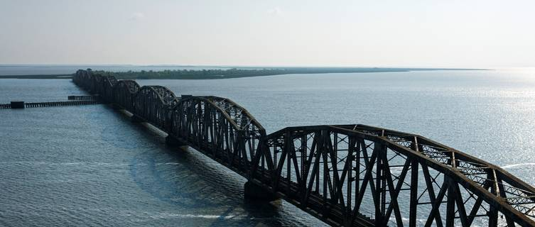 Aerial view of bridge over Mississippi River, Rigolets, Louisiana