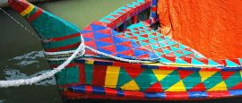 Traditional geometric painted boat, Dhaka, Bangladesh
