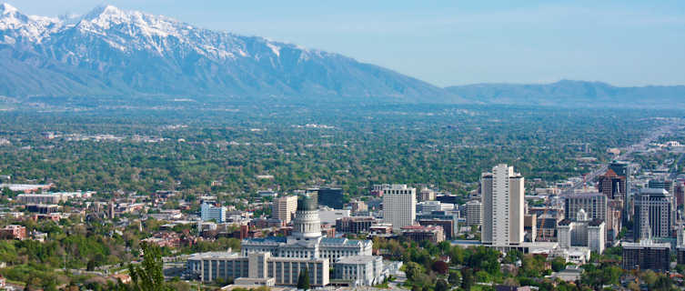 Salt Lake City surrounded by mountains