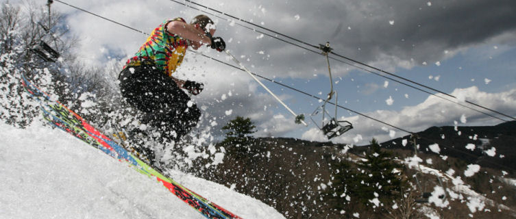 Skier in springtime, Killington