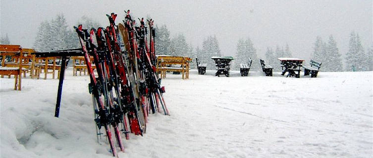 Skis in the snow, Pamporovo