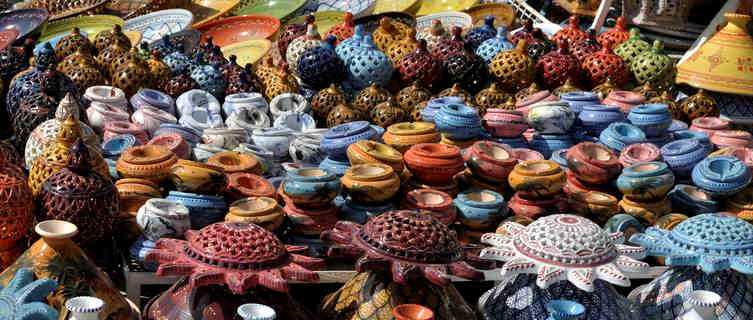 Tunisia pottery on sale in local souks