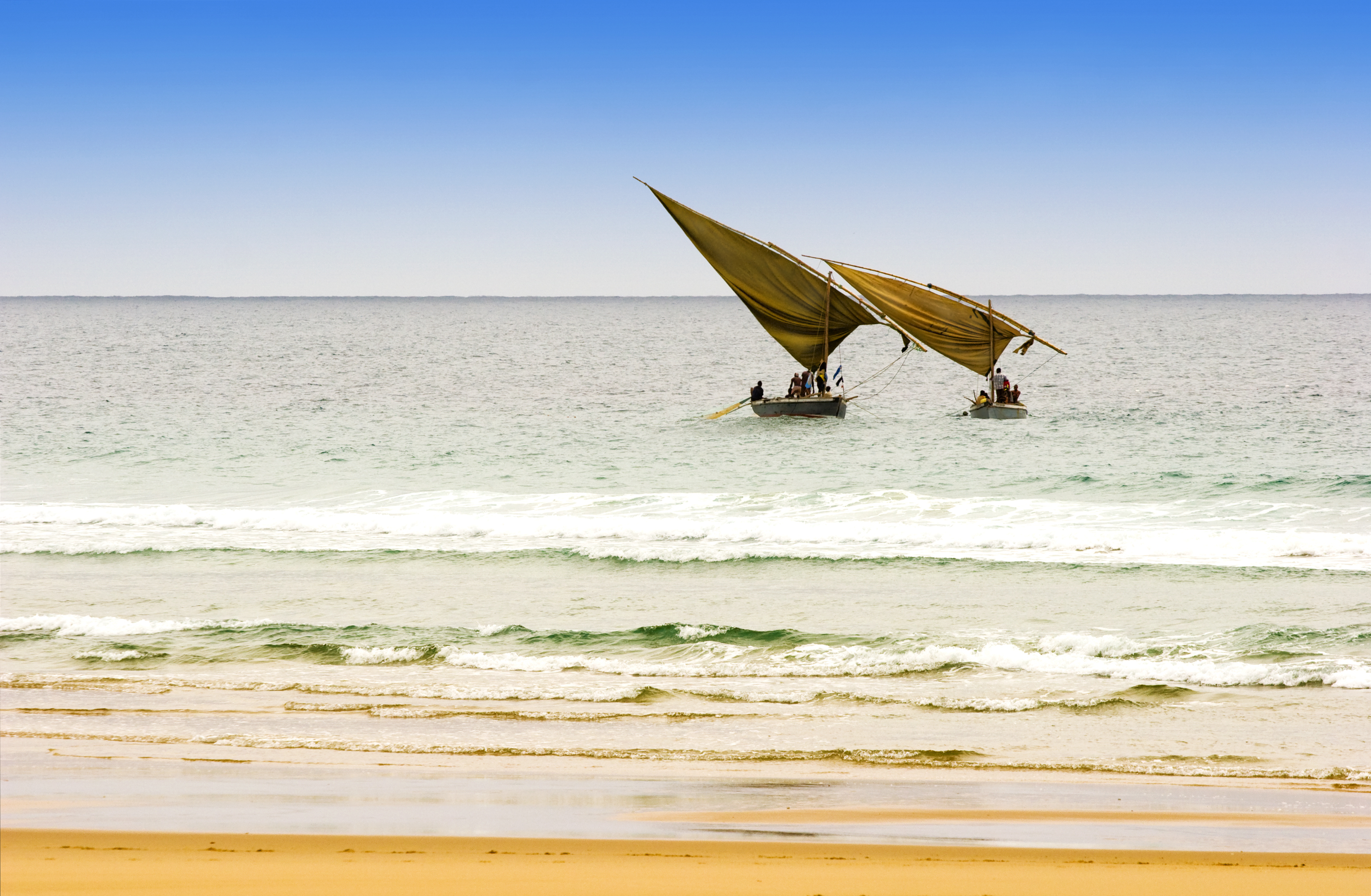 Traditional dhow boats off Mozambique