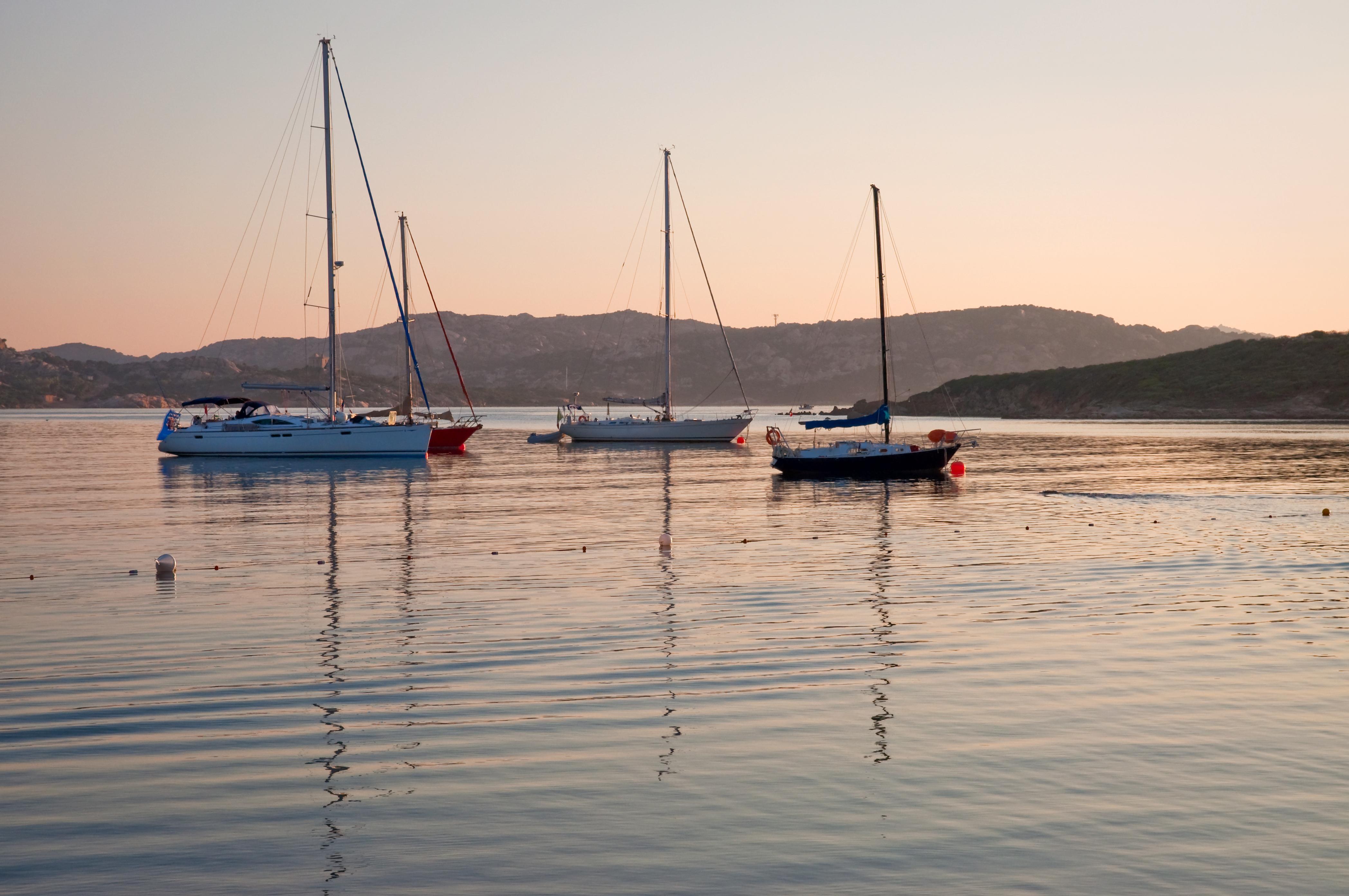 Yachts at dawn in beautiful Sardinia, Italy