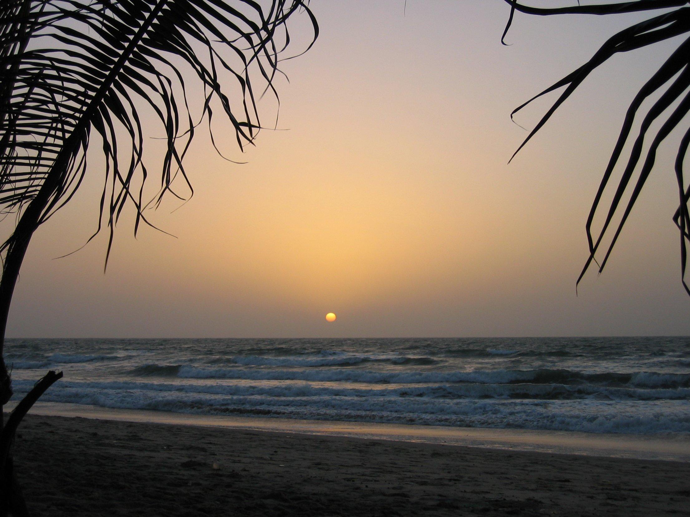 Sunset on the Gambian coast