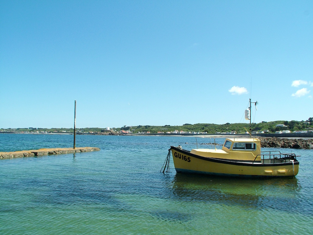 Little yellow boat in Guernsey