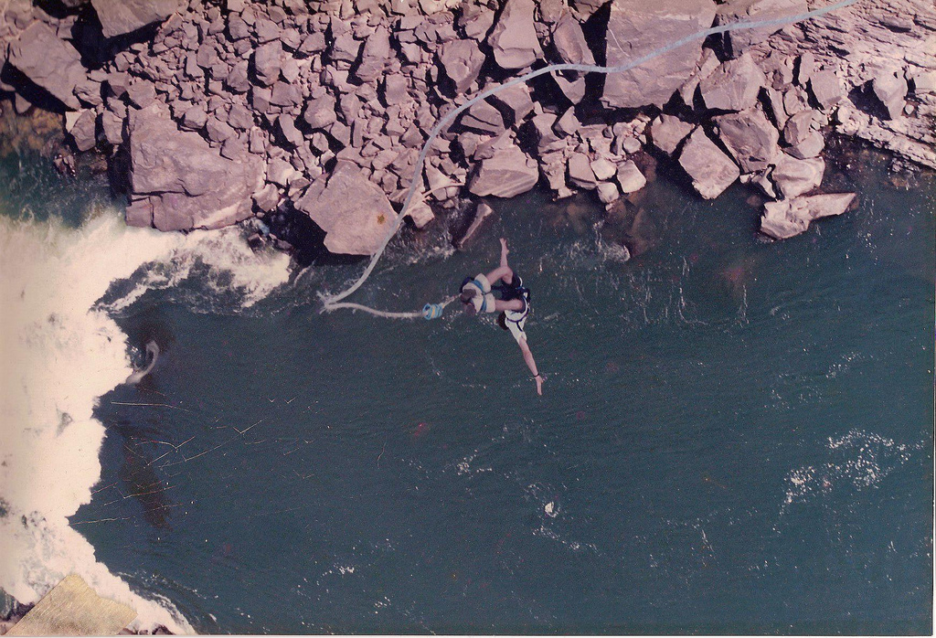 Bungee jumping above the falls