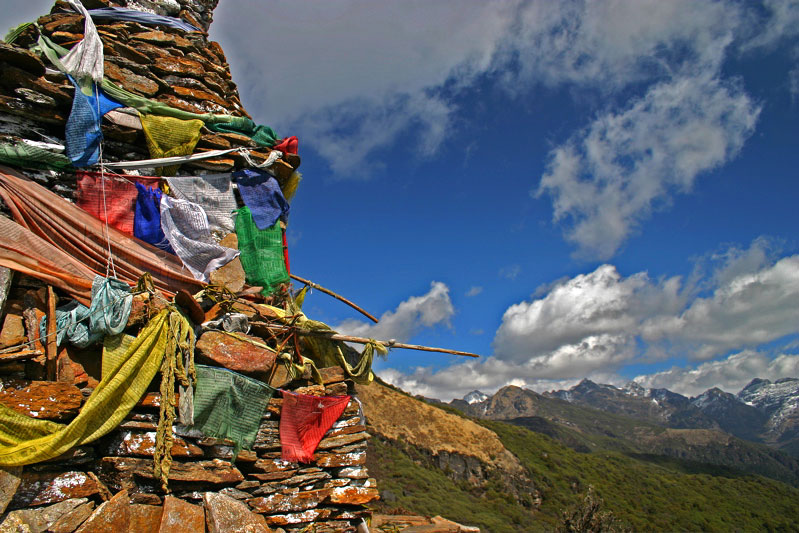 Chorten and prayer flags, Druk Path Trek, Bhutan