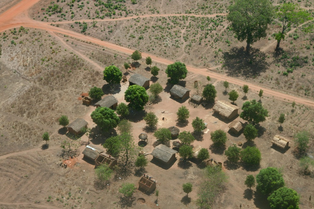 Aerial view of a village, CAR