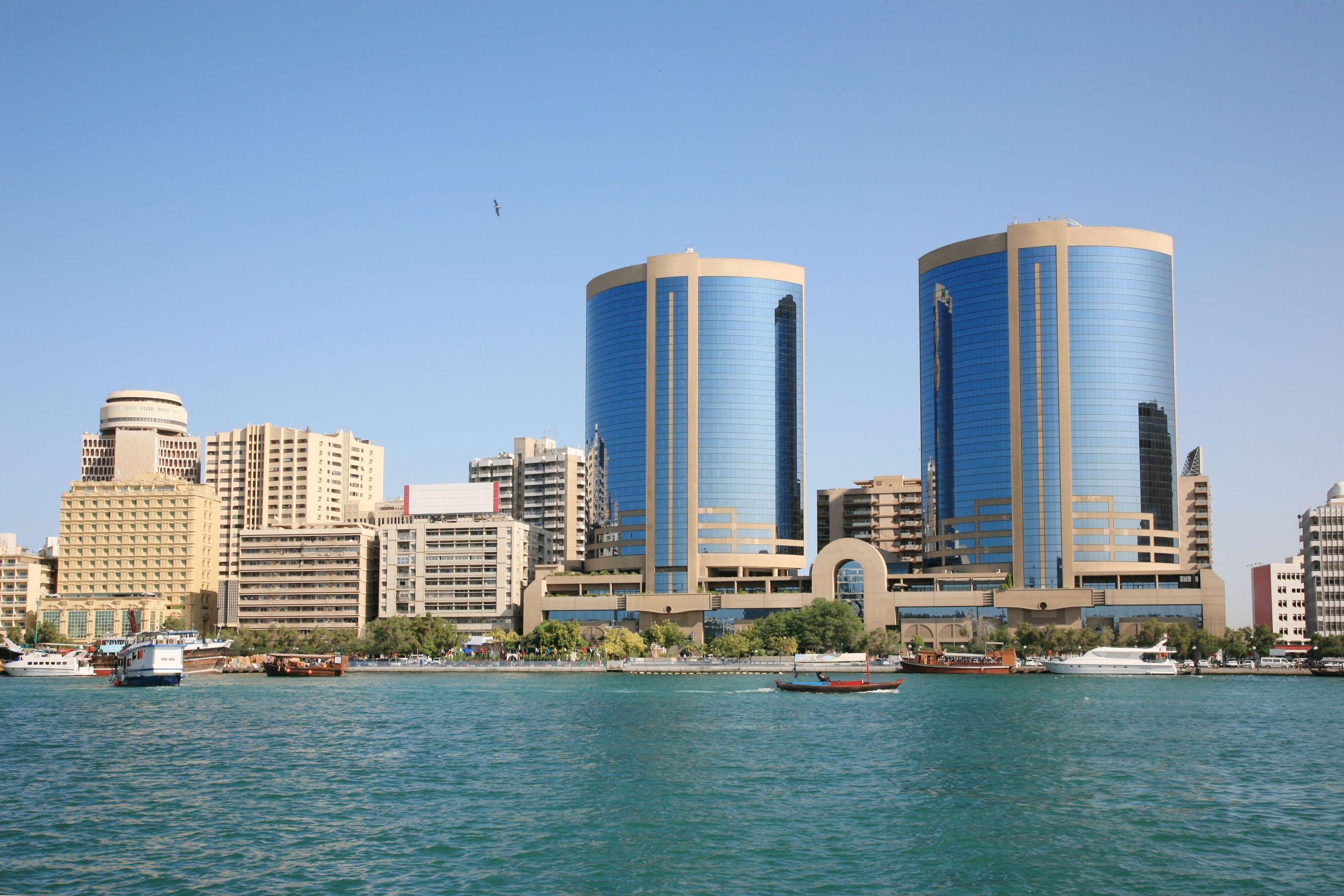 Modern skyscrapers along Dubai's creek, UAE