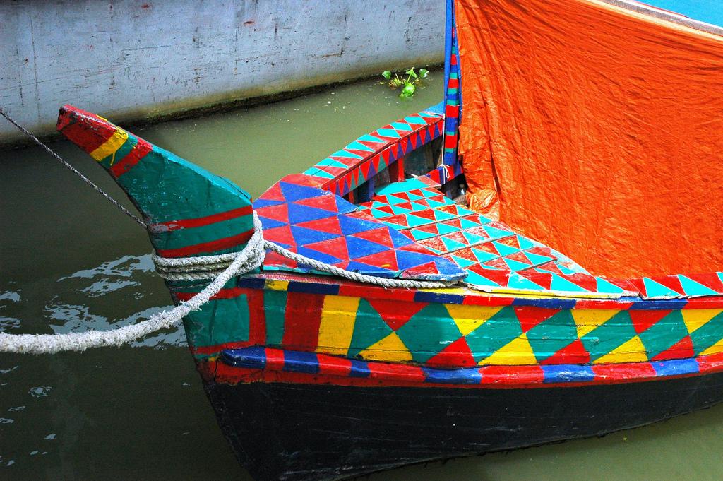 Traditional geometric painted boat, Dhaka, Bangladesh